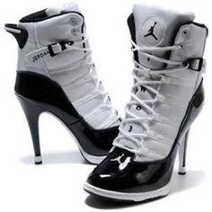 Womens Nike Air Jordan 6 Rings High Heels White Black