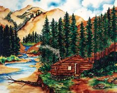 Mountain Cabin 1978 - Water Color Painting