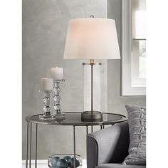 Glass and Steel Cylinder Fillable Table Lamp - #X1219   Lamps Plus