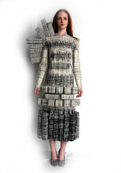 Sustainable Fashion Design - innovative 3D cuboid dress made using fabrics woven from recycled yarns, factory remnants & scraps // Hellen van Rees