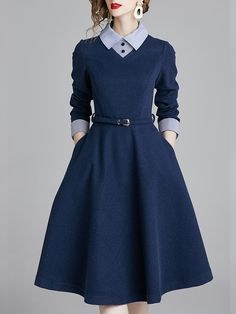 Fold-Over Collar Patch Pocket Color Block Skater Dress # Buy Affordable And Fashionable Women's clothing Online. Buy Shoes, Bags, Dresses Etc Source by weootd winter Casual Dresses Mode Abaya, Mode Hijab, Midi Dress Work, Dress Skirt, A Line Dress Work, Navy Dress, Casual Dress For Work, Apron Dress, Gold Dress