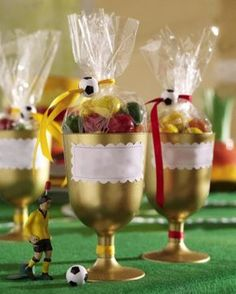 Soccer Party - little trophies for game prizes or party favors! Soccer Party Favors, Soccer Birthday Parties, Football Birthday, Party Games, Barcelona Party, Sports Party, Fathers Day Crafts, Holiday, Themed Parties