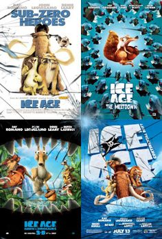 Ice Age, Ice Age the Meltdown, Ice Age Dawn of the Dinos and Ice Age Continental Drift