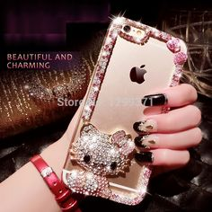 For Iphone 7 6 6S Plus 5 5C 4S Samsung Galaxy Note 7 5 4 3 2 S7 S6 Edge Plus S5/4/3 Bling Bowknot Cute KT Cat Diamond Case Cover