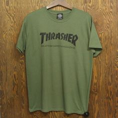 Thrasher Skate Mag Tee (Army Green) T-SHIRTS ❤ liked on Polyvore featuring tops, t-shirts, green tee, army green t shirt, military green t shirt, olive top and green top