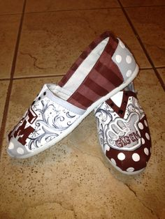 Texas A University  hand painted TOMS by solespirit on Etsy