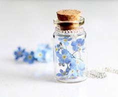 Ketten & Colliers - Vergissmeinnicht Blüten Trockblumen Kette kt019 - ein Designerstück von Viviannaschmuck bei DaWanda on We Heart It