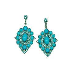 Deborah's Glamorous Turquoise Beaded Earrings ($33) found on Polyvore