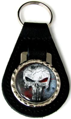 Punisher Skull Blood Black Leather Key Fob With Steel Ring FOB-0042