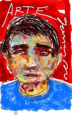 Hermes Tibúrcio portrait. Ilustração feita em tela de aparelho celular. Paulo Moura, 2015.