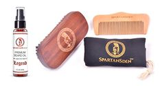 SALE  Spartans Den Beard Care Kit  100 Boar Beard Brush Pearwood Beard Comb Premium Beard Oil  Travel Bag  100 Satisfaction Guaranteed *** You can find more details by visiting the image link.