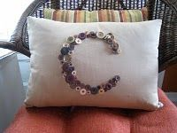 Button Monogram Pillow... make 3 with a monogram... would also make a cute wedding gift..