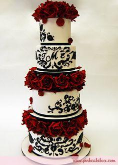 Red Rose & Black Damask Wedding Cake