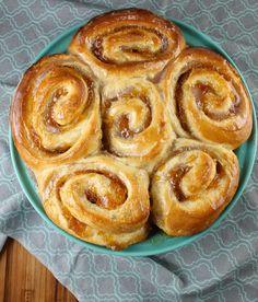 Recipe for Peach Pie Cinnamon Rolls from MissintheKitchen