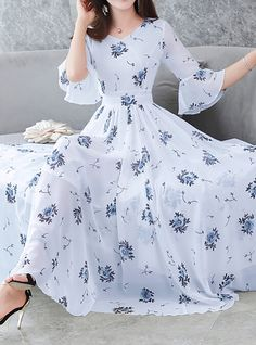 Women's Floral Flare Sleeve Swing Dress - Floral Print V Neck Summer Blue White Black XL XXL XXXL 2019 - Rs. 7085