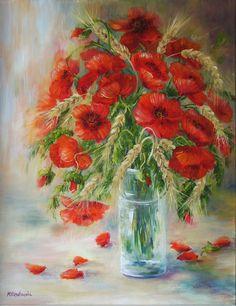 """Maki z kłosami"" - olej - Maria Roszkowska Flower Art, Still Life, Iris, Poppies, Beautiful Flowers, Vibrant, Pictures, Flower Paintings, Decorating"
