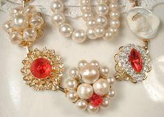 Vintage Earring Bracelet Scarlet Red Ivory Pearl by AmoreTreasure