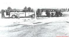 Autobuses implantados por la Junta de la Ciudad Universitaria al finalizar la guerra civil. Obsérvese los gasógenos con los que están dotados.