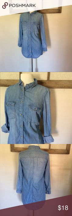 """LEGGING LENGTH H&M chambray top! Tunic length This light weight chambray top by H&M Denim is the perfect length to wear over leggings and a layering tee/tank. It is 34"""" long! Size 8. So cute pictured with the April vintage dress also for sale in my closet. 💕 H&M Tops Tunics"""