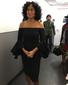 ffbdb00123 The post Splurge  Tracee Ellis Ross s Good Morning America Ellery Black  Precocious Off-the-Shoulder Crepe Midi Dress appeared first on Fashion Bomb  Daily ...