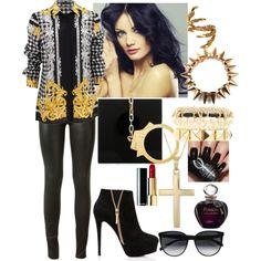"""Darky queen"" by vladihimirmaldonado on Polyvore/ #dark #Status #Zoey #ZoeyOzman #look #story #casual #queen #darky #sexy #woman #whattowear #golden #spike"