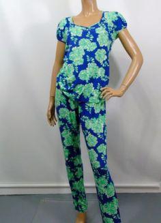 Cosabella Lounge Sleep PJ Pajama Set Sz L Blue Green Large Floral Print  Stretch e677b3d08