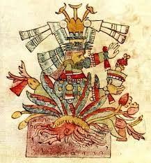 """Los aztecas y el pulque. Tepoztécatl, uno de los """"400 conejos"""", era dios del pulque de Tepoztlán. Códice Magliabechiano"""