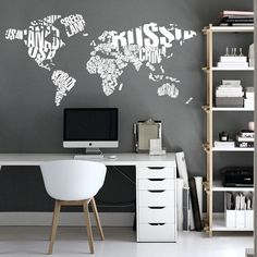 Typography World Map  Country Names  World Map by homeartstickers