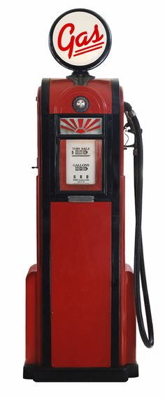 1950's / 50's Gas Pump / Retro Gasoline Pump / Antique Petrol Pump / Red