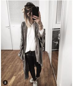 Leather trousers, white tee, long cardi, flats/nikies