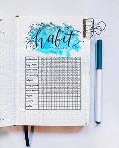 "38 Likes, 2 Comments - ▫️ hannah ▫️ (@handwritten_hannah) on Instagram: ""march habit tracker! i'm really loving the blue splashes! • • • #bujo #bulletjournal…"""
