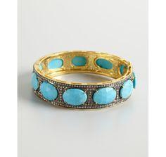 Aishwarya turquoise oval stone and diamond bangle