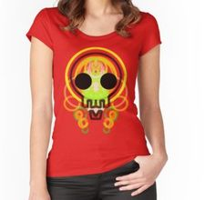 Women's Fitted Scoop T-ShirtBuy 'Cute skull green neon glowing spray digital design' by M-Lorentsson as a T-Shirt, Classic T-Shirt, Tri-blend T-Shirt, Lightweight Hoodie, Women's Fitted Scoop T-Shirt, Women's Fitted V-Neck T-Shirt, Women's Relaxed Fit T-Shirt, Grap...