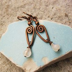 Your place to buy and sell all things handmade Copper Wire Jewelry, Copper Earrings, Beaded Earrings, Make Your Own Jewelry, Jewelry Making, Antique Copper, Hammered Copper, Wire Wrapped Earrings, Handcrafted Jewelry