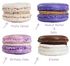 S'mores, Birthday Cake, Fruity Cereal, and PB macarons. I love Macarons! Baking Recipes, Cookie Recipes, Dessert Recipes, Just Desserts, Delicious Desserts, Yummy Food, Macaroons Flavors, French Macaron Flavors, Macaron Cookies