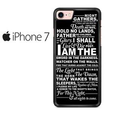 Night's Watch Oath Game Of Thrones Quote Iphone 7 Case