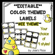 EDITABLE Labels with a bee theme. Great for labeling everything in your bee themed class! 9 styles to choose from. OTHER COLORS/THEMES AVAILABLE!