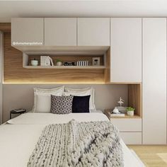 20 Awesome Bedroom Shelves Ideas to Save Space! - Simple Life of a Lady - 20 Awesome Bedroom Shelves Ideas to Save Space! – Simple Life of a Lady small shelving above the bed Bedroom Built Ins, Small Master Bedroom, Shelves In Bedroom, Modern Bedroom, Small Bedroom Storage, Bedroom Cupboard Designs, Wardrobe Design Bedroom, Master Bedroom Design, Home Decor Bedroom