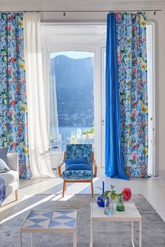 Home Decoration Ideas Images Refferal: 3654219581 Decor, Shabby Chic Curtains, House Interior, Trending Decor, Designers Guild, Blue White Decor, Interior Design, Curtain Decor, Curtain Designs