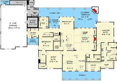 Country Home Plan with Bonus Space Above Garage - floor plan - Main Level I love this home. Add the bonus room and it's everything you could ask for. Still looking for space for the safe room. Best House Plans, Ranch House Plans, Craftsman House Plans, Country House Plans, Dream House Plans, House Floor Plans, Craftsman Style, Safe Room, Home Buying Tips