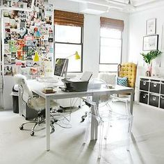 The Every Girl - dens/libraries/offices - bamboo, roman shades, ikea desk, , West Elm Industrial Task Table Lamp - Turmeric, Kartell Ghost C...