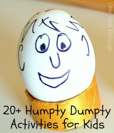 20+ Humpty Dumpty Inspired Activities - including language, science, play and arts & crafts! Perfect for a nursery rhyme unit for toddlers, preschoolers, or kindergarteners. {One Time Through} #kids