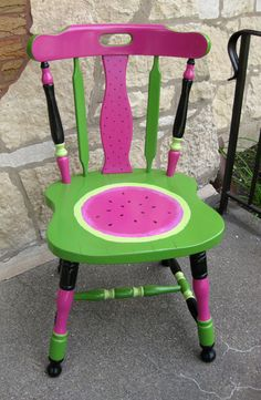 Watermelon chair. I found it in the alley and painted for front porch. Best things in life are free, right?
