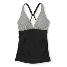Women's Shirred Racerback Tankini Top - Black Stripe - XS - Merona