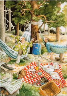inge look hammocks Old Lady Humor, Picnic Time, Christmas Scenes, Whimsical Art, Little Houses, Beautiful Paintings, Old Women, Life Is Beautiful, Crafts To Sell