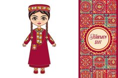 The girl in Turkmen dress. Historica Graphics **The girl in Turkmen dress.**These images can be used digitally or in print by Zoya Miller Illustration Girl, Digital Illustration, Vector Illustrations, Patchwork Patterns, Tile Patterns, Traditional Fashion, Historical Clothing, Custom Invitations, Little People