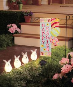 Solar bunny stakes...I do good to just decorate for Christmas, but this is so cute!  Maybe when I retire!