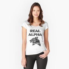 'Real Alpha - pack leader' Fitted Scoop T-Shirt by RIVEofficial Alpha Pack, Halloween 2020, Happy Halloween, Chiffon Tops, Custom Shirts, Cap Sleeves, Shirt Designs, T Shirts For Women, Tees