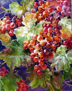 Grapes #101 -Watercolor on Yupo by Celeste McCall. This is a painting which I just finished from imagination.  I love red grapes because of the yellow reds, reds and violet reds in them.  Plus, what else goes with green leaves better than red grapes?  I enjoyed painting this watercolor on yupo.
