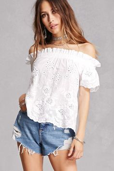 Scalloped Off-the-Shoulder Top